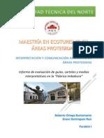2014_07_26_Informe de Trabajo de Campo_Fabrica Imbabura_Dominguez G - Ortega R