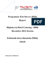 Programme Exit Survey (PES) DIS 2013 Session (DHK)