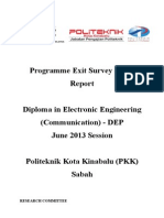 Programme Exit Survey (PES) JUNE 2013 Session (DEP) V1