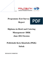 Programme Exit Survey (PES) JUNE 2013 Session (DHK)