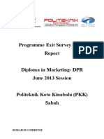 Programme Exit Survey (PES) JUNE 2013 Session (DPR)