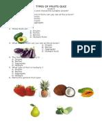 Types of Fruits Quiz