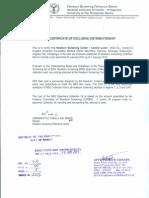 Certificate of Exclusivity
