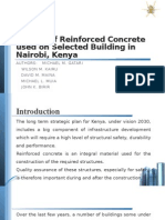 Quality of Reinforced Concrete Used on Selected Buildings in Nairobi, Kenya