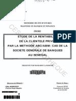 Etude de la rentabilité de la clientèle privée par la méthode ABC ABM  cas de la Société Générale de Banques au Sénégal