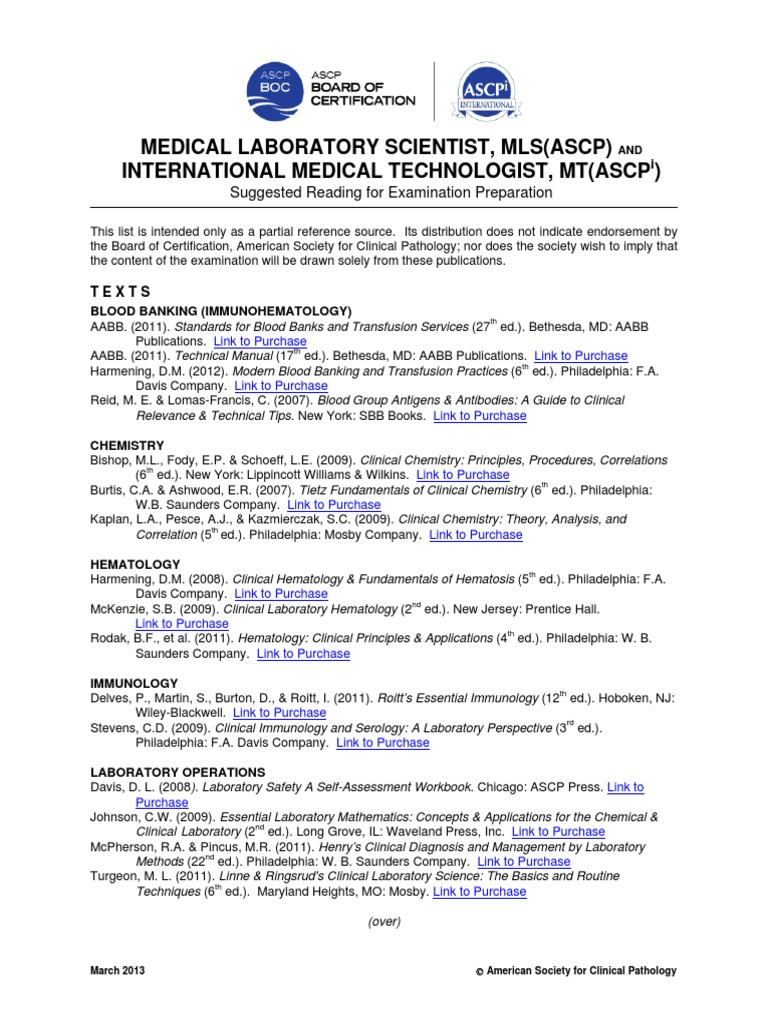 Mls Imt Reading List 3 13 Medical Laboratory Medicine