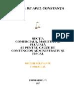 Sectia Comerciala - Decizii Relevante Trimestrul IV 2007- Comercial