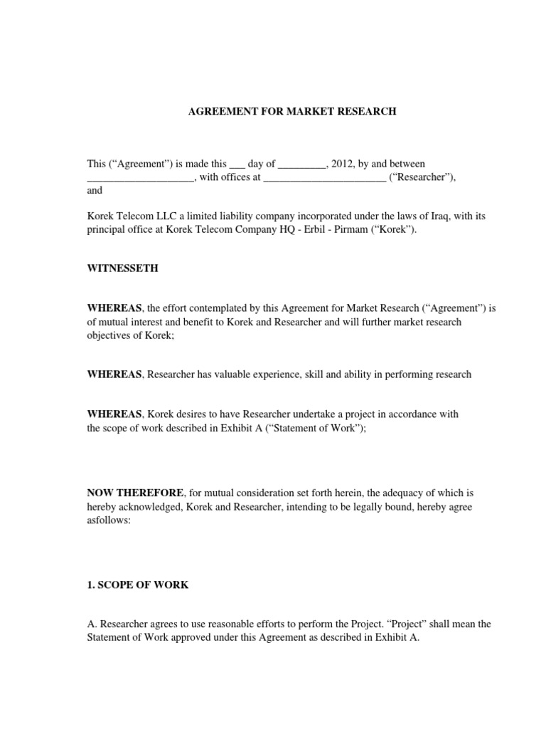 Market Research Agreement Law Of Agency Field Research