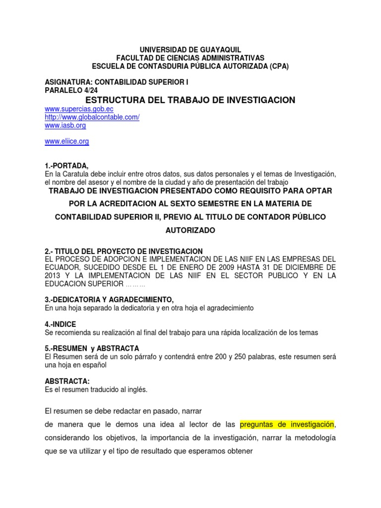 Estructura Del Trabajo de Investigacion 2do. Parcial 5-21 Contab ...