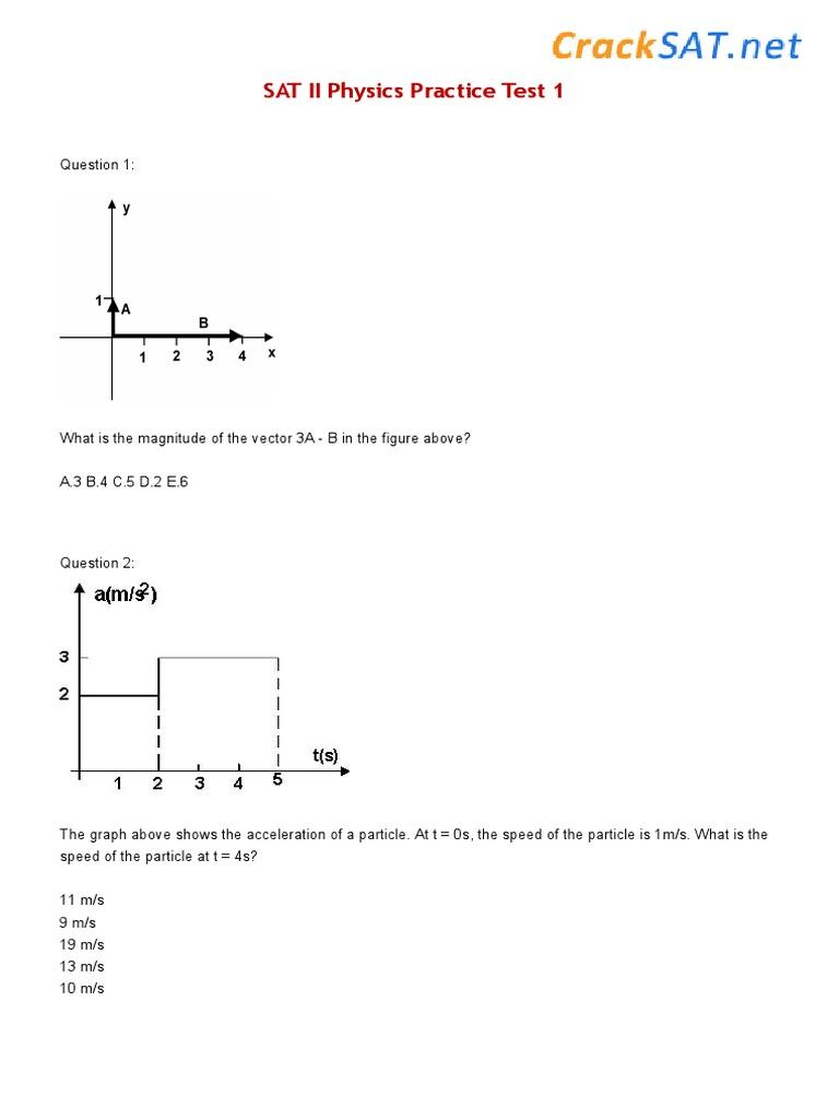 SAT II Physics Practice Test 1 | Friction | Physics