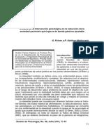 Eficacia de La Intervención Psicológica en La Reducción de La Ansiedad de Pacientes Quirúrgicos de Banda Gástrica Ajustable