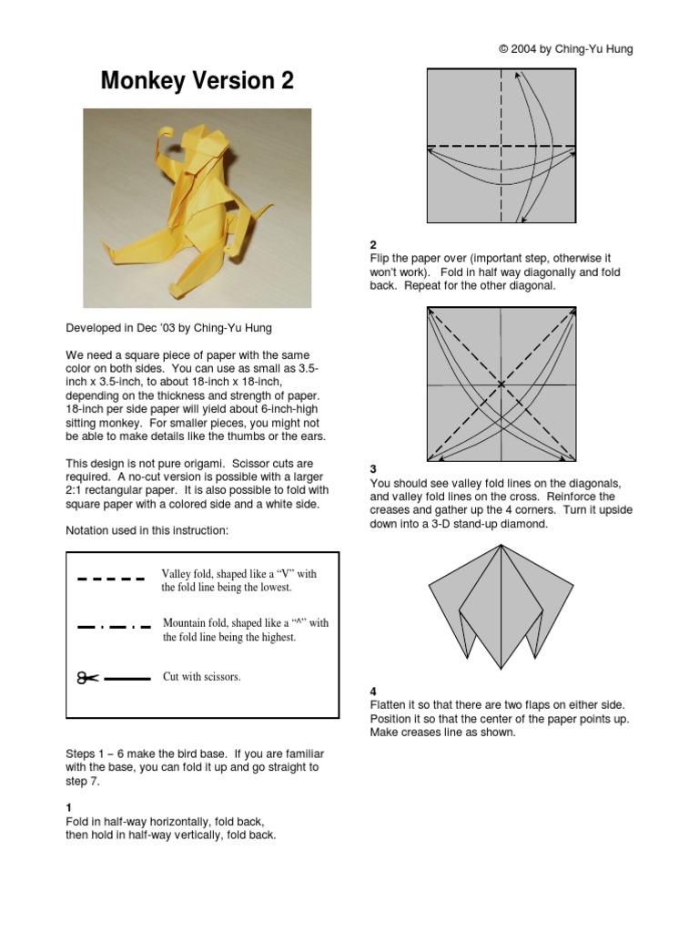 Origami Two Monkeys #origamiinstructions   Origami monkey, Origami ...   1024x768