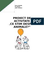 Proiect didactic, ce stim despre animale?