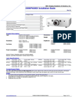 Projetor NEC Pa500u Pa500x Pa550x Pa600x Installguide