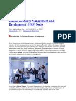 Human Resource Management and Development
