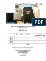 Melrose Veterans Memory Project T-shirt Order Form