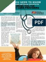 Sex Trafficking ASU Healthcare Brochure