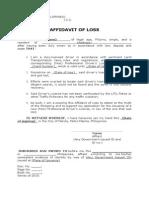Affidavit of Loss Format