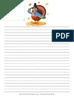 Thanksgiving Turkey Writing Paper Handwriting