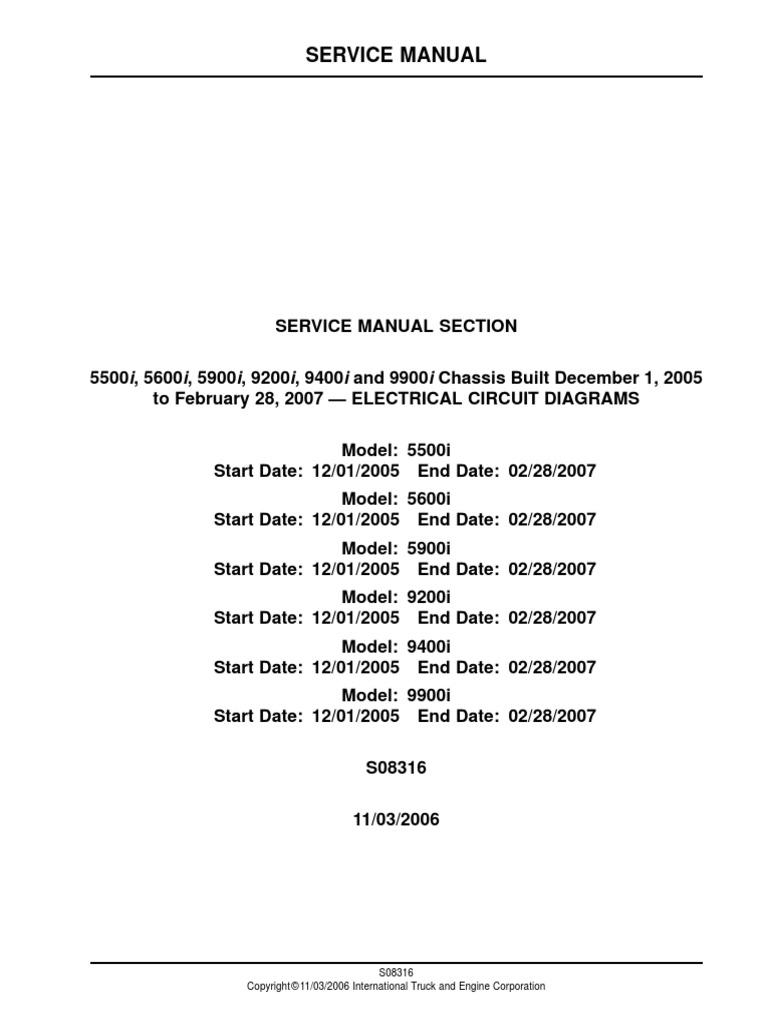 [EQHS_1162]  Diagramas Electricos 5500i_ 5600i_ 5900i_ 9200i_ 9400i and 9900i Chassis  Built December 1_ 2005 | Manufactured Goods | Vehicles | International 9400i Fuse Diagram |  | Scribd