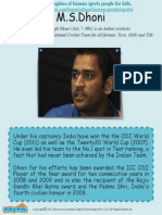 Mahendra Singh Dhoni - Famous Sports People For Kids