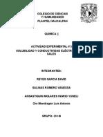 ACTIVIDAD EXPERIMENTAL 5solubilidad y Conductividad Electrica de Sales