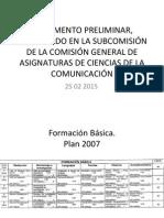 PRELIMINAR - SUBCOMISIÓN DE ASIGNATURAS CIENCIAS DE LA COMUNICACIÓN