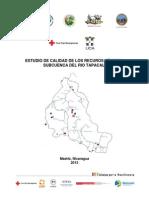 Estudio calidad de agua, subcuenca del Río Tapacalí, Nicaragua