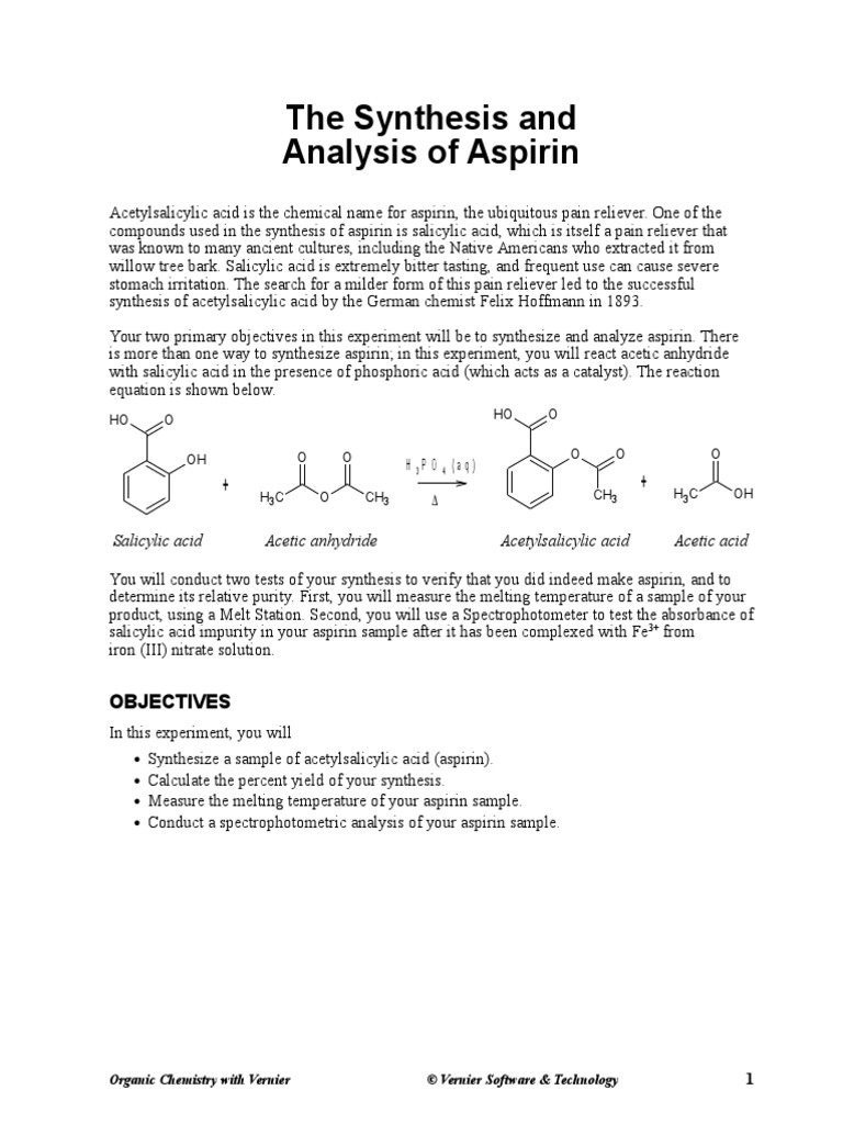results and conclusion for aspirin synthesis Aspirin synthesis mass of salicylic mass of dried aspirin results mass of aspirin expected conclusion: purified aspirin observation: conclusion: blank.