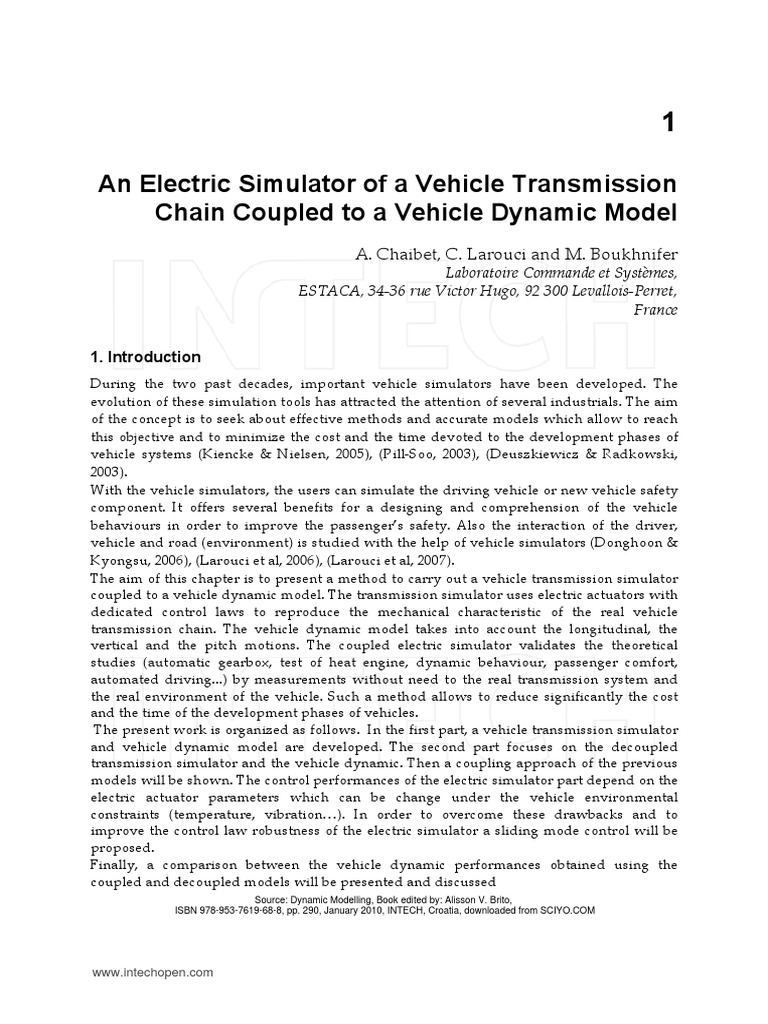 Dynamic Modelling Intech Transmission Mechanics Simulation Owner Updated Wiring From Enrique Prati Diagrampdf
