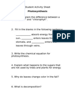 Student Activity Sheet - Photosynthesis