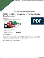 MRTA vs MLTA - Which One is the Best Housing Loan Insurance