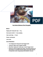 Sop Kaledo (Makanan Khas Donggala) Bahan :