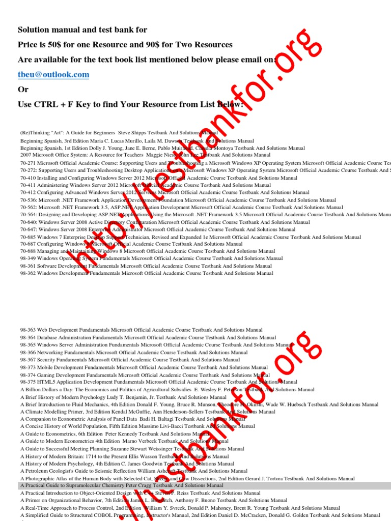 Textbook test banks solution manual array 194346394 solution manual and test bank microsoft windows microsoft rh scribd fandeluxe Choice Image