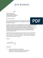 Mitt Romney letter to Utah State Legislature