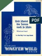 Jupp Schmitz - Und Scheint Die Sonne Noch So Schoen - Walzerlied - 1950 - Sheet Music