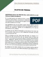 INESPERADA BAJA DE PRECIOS DEL CAFÉ AFECTA A LOS PRODUCTORES DE MEXICO
