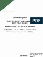 Tables de Composition Des Aliments