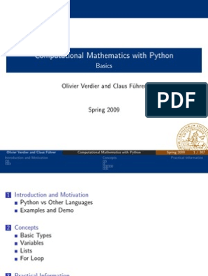 Computational Mathematics with Python (Lecture Notes)   Control Flow