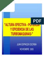 2 Altura Efectiva, Potencia y Eficiencia de Las Turbomáquinas