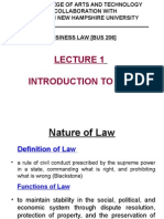 Lecture 1 – Introduction to Law