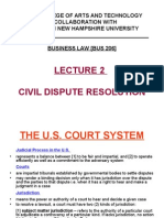 Lecture 2 – Civil Dispute Resolution
