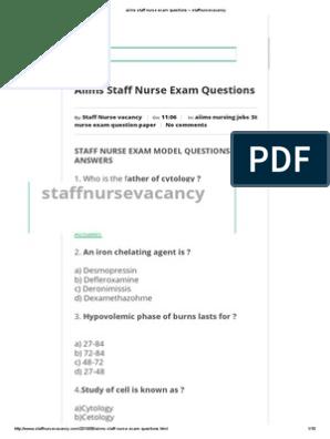 aiims staff nurse exam questions ~ staffnursevacancy | Clinical