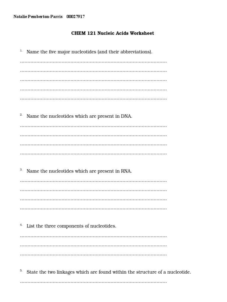 Nucleic acids Worksheetdoc – Acids Worksheet