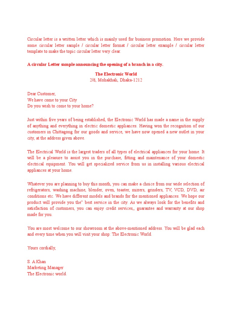 format of circular letter