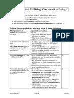 Ecology Coursework Help Sheet