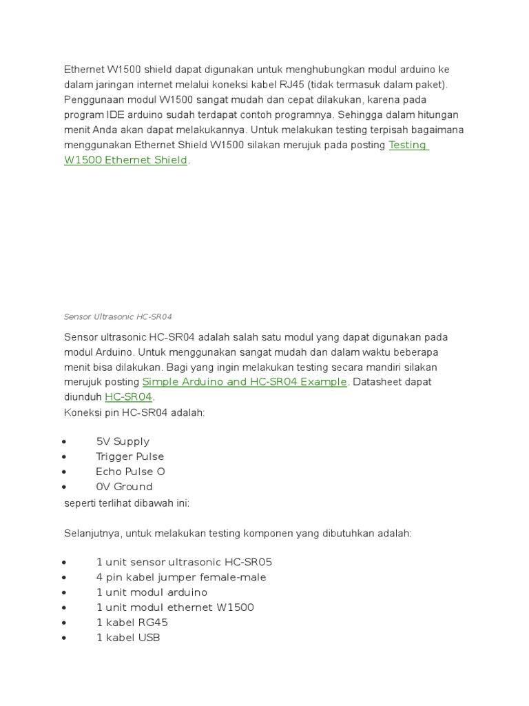 Mengukur Jarak Dengan Sensor Ultrasonic Hc Sr04 Melalui Link Datasheet Ethernet W1500 Hypertext Transfer Protocol Computer Networking