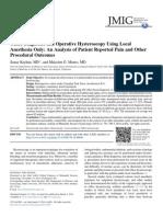 Office Diagnostic Hysteroscopy Using Local Anestesia
