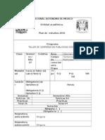 FORMATO ASIGNATURA TALLER DE CAMPAÑAS DE PUBLICIDAD SOCIAL