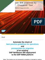 SAP BW HANA Checklist